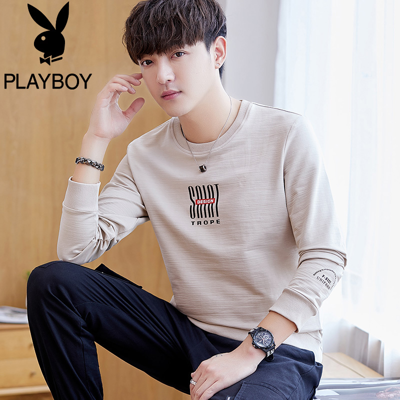 Playboy long-sleeved T-shirt men's autumn clothes men's round neck sweater compassionate spring and autumn men's clothing trend autumn clothes