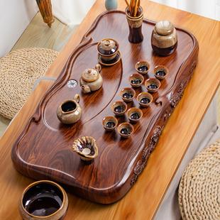 茶盘家用现代简约客厅茶台功夫茶具套装 木茶盘仿黑檀木实木花梨木