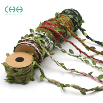 Green Leaf Hemp rope staircase decorative rattan leaf diy hand knitted making adult material pack photo wall decoration