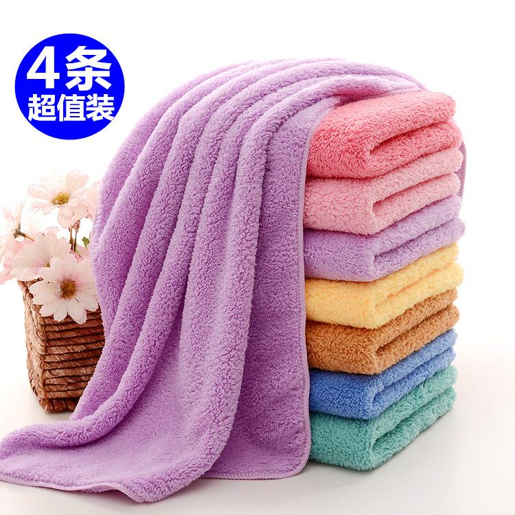 4条装韩国长绒干发巾珊瑚绒毛巾超强吸水擦头发速干美容院包头巾满29.90元可用10元优惠券