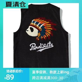熊猫组青年复古风潮流时尚百搭马甲