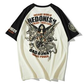 爆音娘BAKUON!!日系复古插肩拼色潮牌短袖摇滚吉他音乐节男士T恤图片