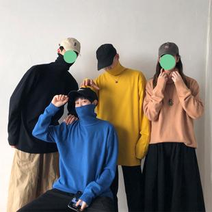 秋冬季新款男士韩版纯色高领潮流针织衫毛衣学生情侣帅气打底外套