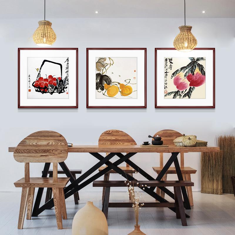 齐白石装饰画国画新中式客厅背景墙面挂画卧室饭厅餐厅水墨虾壁画 Изображение 1