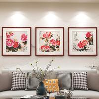 查看新中式国画牡丹花开富贵装饰画客厅餐厅背景墙画卧室床头挂画壁画价格