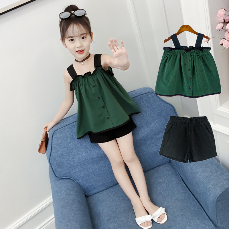 女童夏装2018新款时髦套装中大童韩版时尚夏季童装短裤两件套洋气