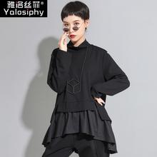 T恤女上衣潮 暗黑风个性 a字娃娃衫 不规则长袖 新款 欧美秋装 宽松大码