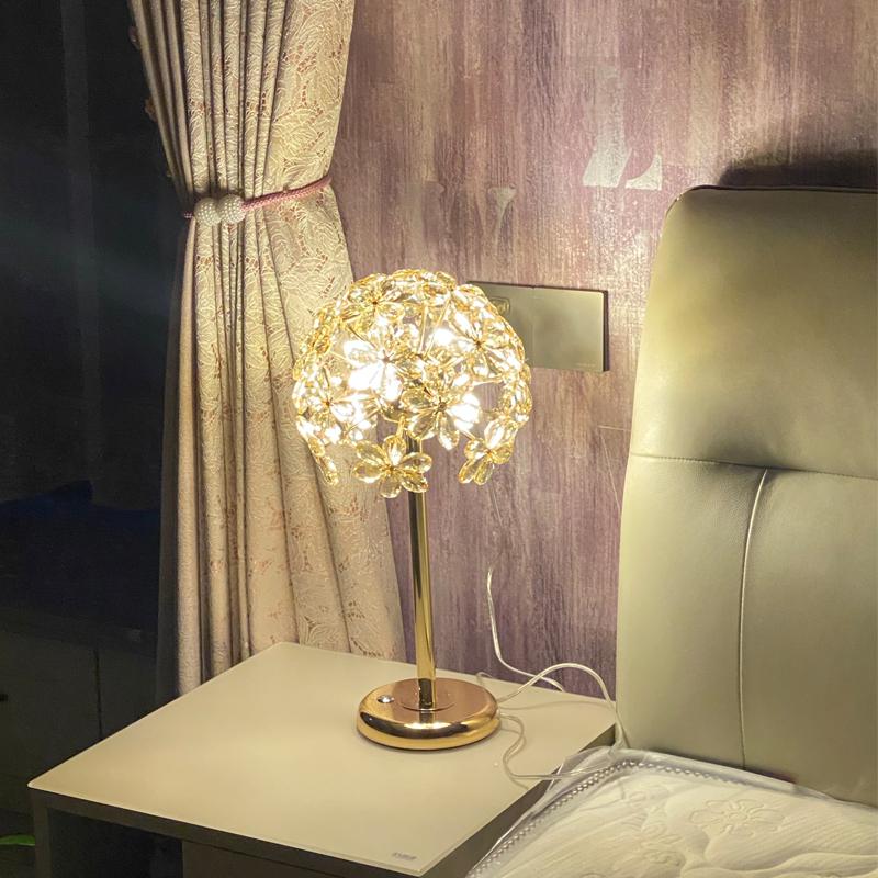 轻奢水晶卧室床头灯创意触摸台灯