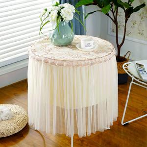 欧式桌布布艺圆形餐桌布垫家用小圆桌布蕾丝床头柜罩简约现代台布
