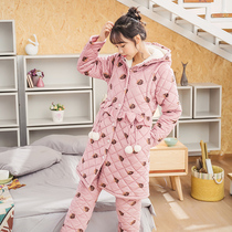 Pregnant womens pajamas winter thickening plus velvet cotton postpartum breastfeeding breastfeeding out warm women set moon clothes autumn and winter