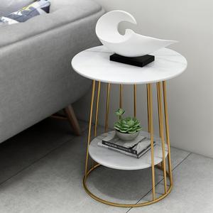 北欧沙发边几铁艺大理石桌子现代简约床头圆桌客厅角几阳台小茶几