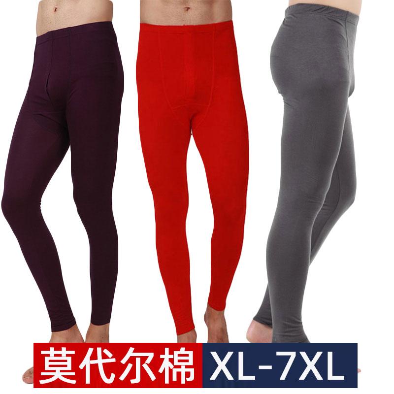 Mens fattening oversize modal cotton ultra thin elastic autumn pants underpants panties warm pants
