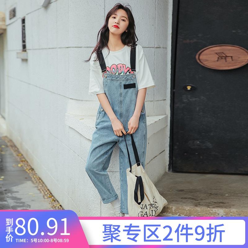 章若楠ins网红减龄牛仔背带裤长裤89.00元包邮