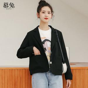 港味小西装外套女春装2020新款韩版宽松设计感小众短款西服上衣潮