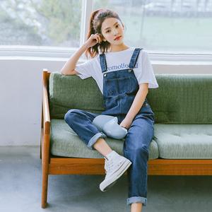 章若楠牛仔背带裤女2019春季韩版宽松裤子
