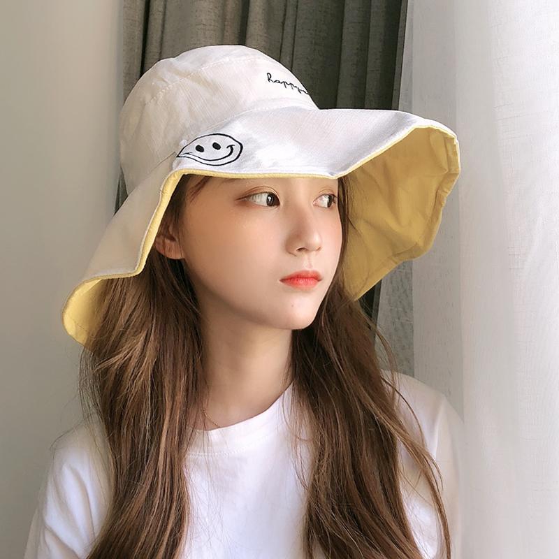 双面渔夫帽女夏季韩版百搭遮阳太阳帽日系防紫外线防晒遮脸帽子女