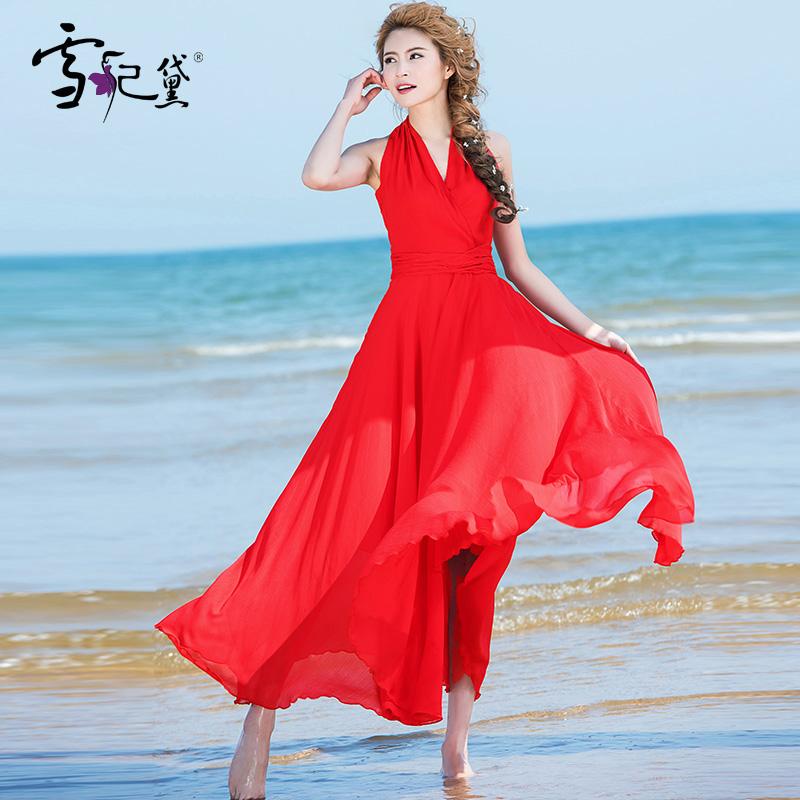 2019韩版无袖雪纺红色连衣裙海边度假沙滩裙大摆波西米亚长裙大码