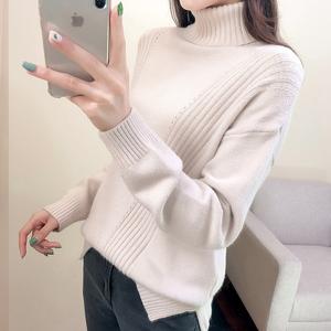 【樱思】高领慵懒风纯色女款针织毛衣