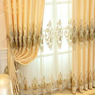 定制欧式绣花窗帘成品布艺高档客厅奢华大气卧室阳台飘窗落地窗