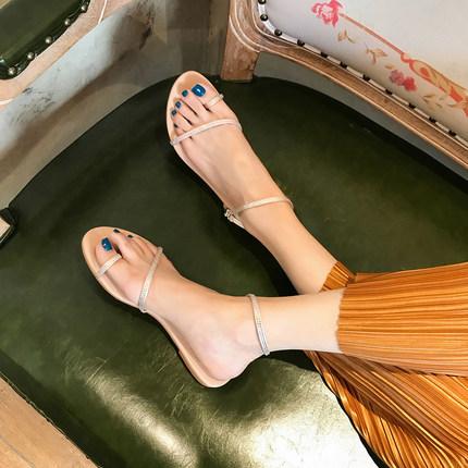 葡萄妈studiolee 水钻凉鞋女套趾仙女风夏季新款百搭平底罗马鞋