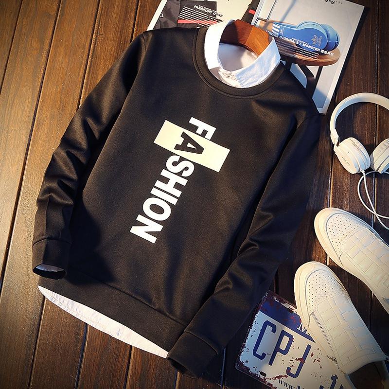 春季韩版圆领青年卫衣学生t恤印花套头长袖打底衫男士运动上衣潮