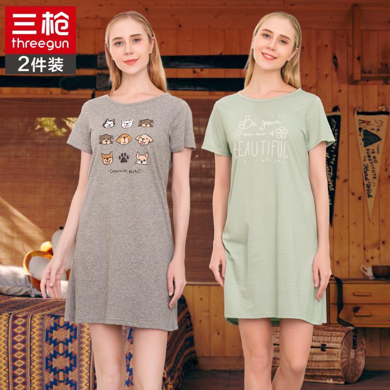 三枪新疆棉纯棉短袖夏季女士睡裙薄全棉透气宽松休闲睡衣家居服