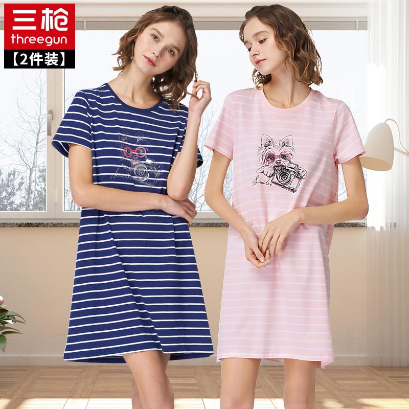 三枪睡裙睡衣夏季纯棉居家条纹短袖连体圆领学生女士家居服 2条装图片