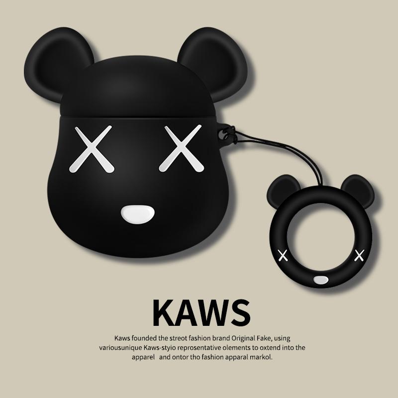 airpods保护套airpods2苹果耳机套卡通可爱暴力熊kaws无线蓝牙壳套ipods全包硅胶一代apple二代套防