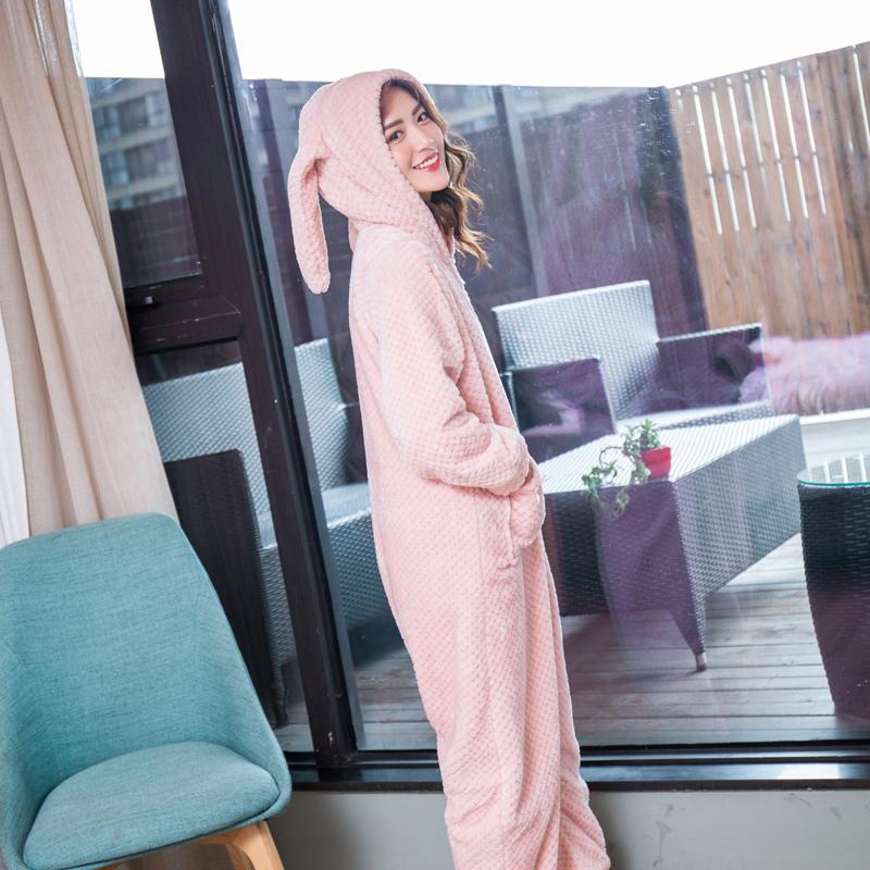 睡衣加厚款连体法兰绒家居服珊瑚绒