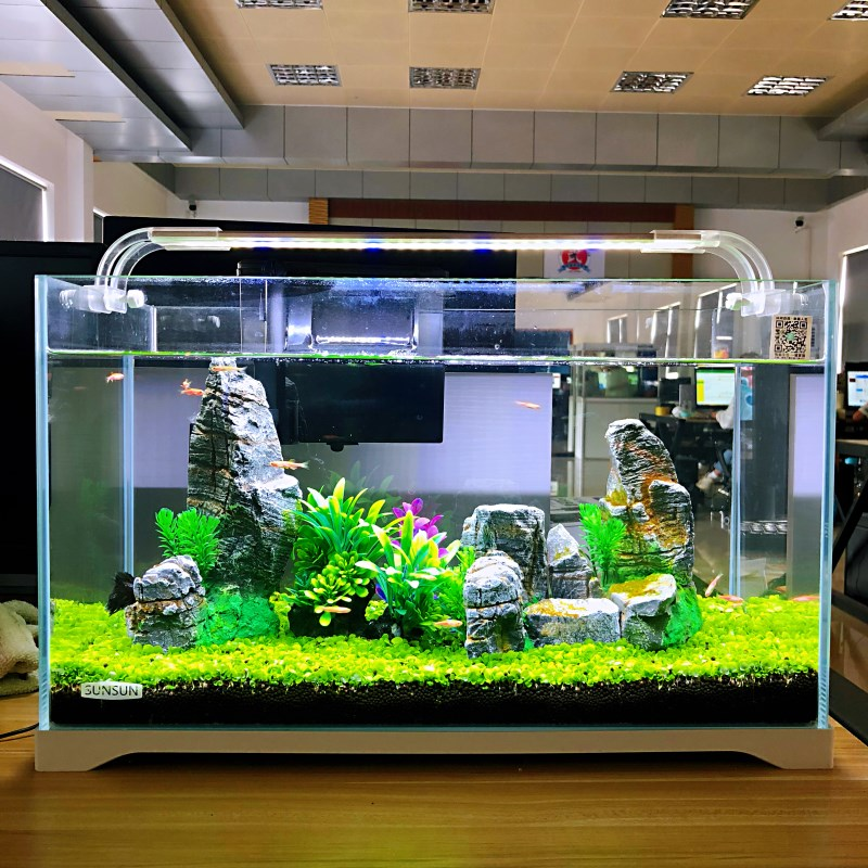 森森小金鱼缸小型水族箱超白玻璃客厅生态水草缸 乌龟缸造景草缸