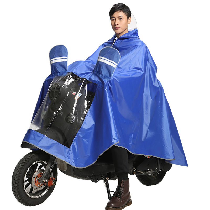 Battery motorcycle raincoat with bicycle single person, double person, male and female adult increase thickness of heavy rain proof riding poncho