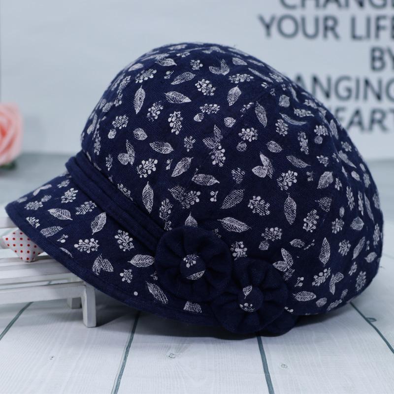 中老年人帽子女春秋短檐薄款老人奶奶休闲帽妈妈秋天布帽单时装帽