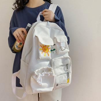 日系书包女韩版高中大容量初中学生双肩包女原宿ulzzang帆布背包