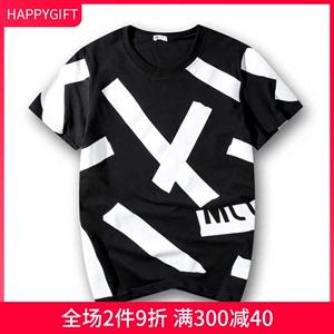 男装短袖T恤夏装新款男士纯棉圆领字母印花短T针织衫韩版半截袖潮