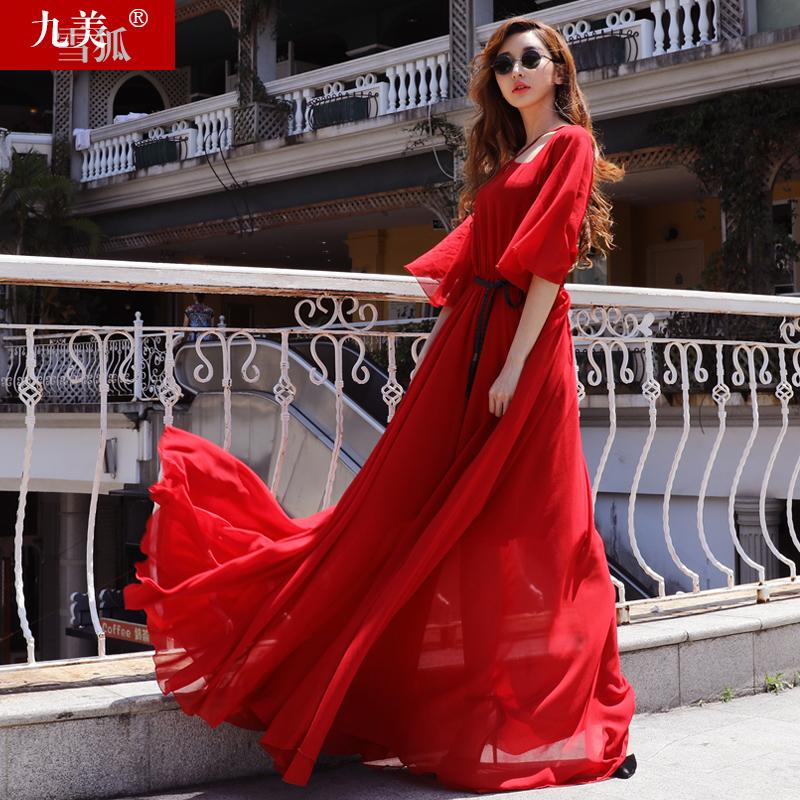 女装夏季大红色超长款沙滩雪纺超大摆及到脚踝超仙连衣裙拖地长裙