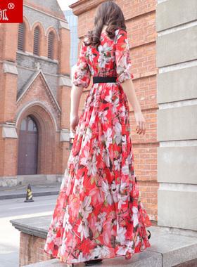 2021新款春夏季女装红花碎花大花雪纺超长款到脚踝拖地长裙连衣裙