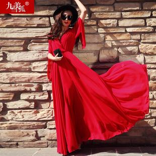 女装 2021春夏季 超仙裙子拖地连衣裙长裙 大红色大摆沙滩雪纺超长款