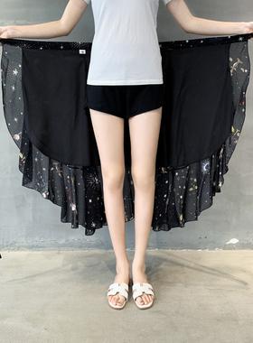 系带一片式半身裙雪纺复古碎花沙滩裙春夏新款女中长款荷叶边裹裙