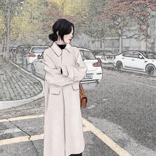 红毛呢外套女中长款2019冬新款流行过膝赫本呢子大衣加厚加棉妮子