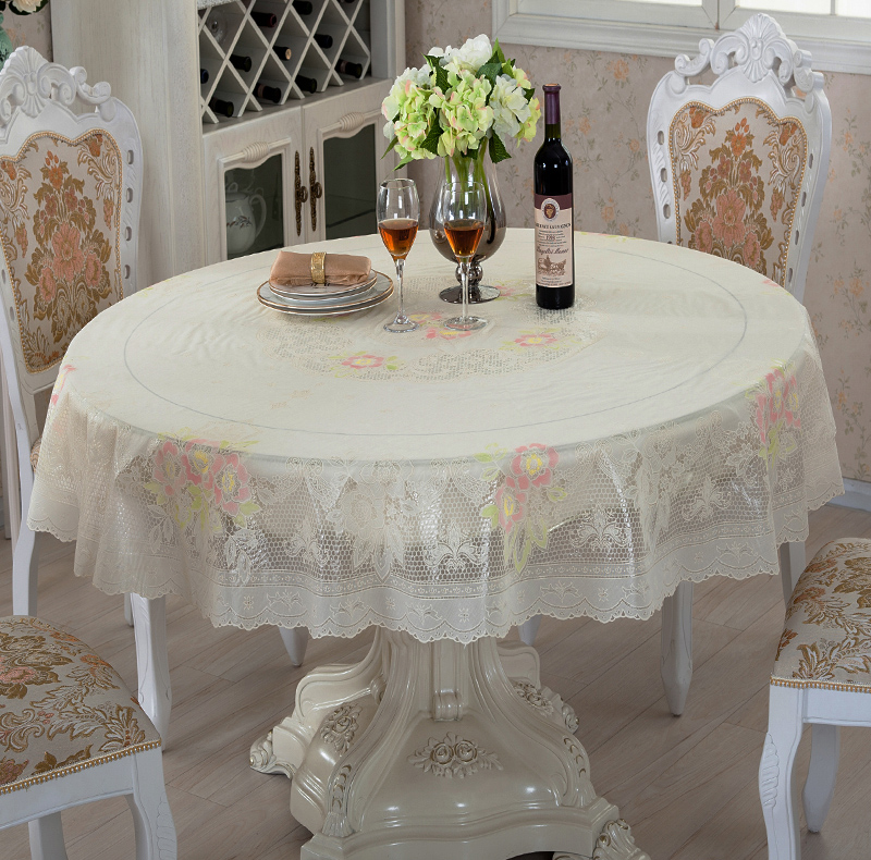 家音圆桌布长方台布餐桌布 PVC防水防油塑料免洗圆形桌布长桌垫布,可领取2元天猫优惠券