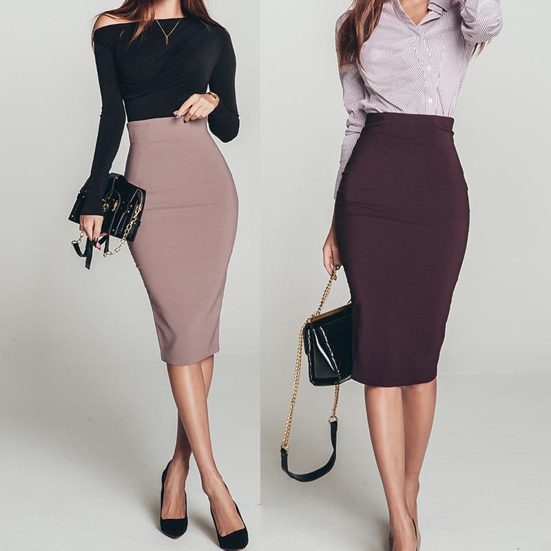 春秋过膝职业半身裙紫红色高腰显瘦包臀裙子2019新款韩版一步裙女