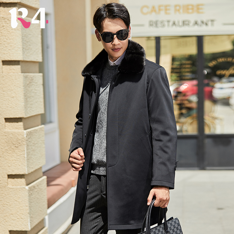 Knickerbocker mens winter medium and long mink hair collar rabbit hair inner liner Parka clothes for middle-aged and old dad with large coat