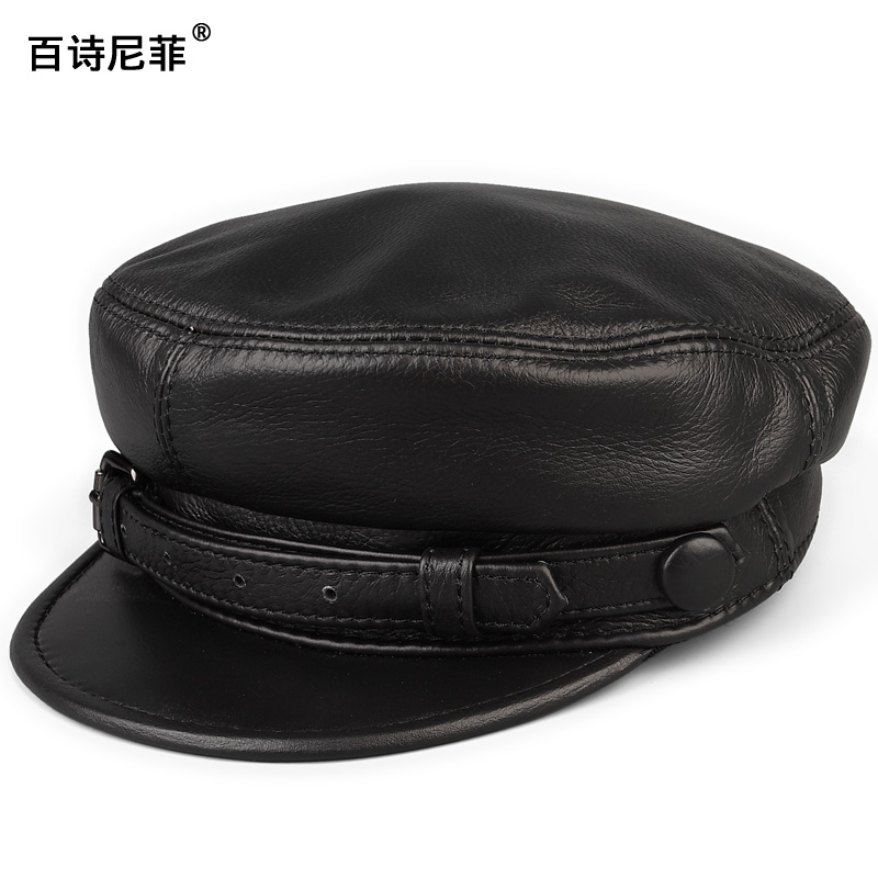 Mens and womens spring and autumn Retro Black Leather Motorcycle rock top leather flat top military cap Beret Leather Mens hat