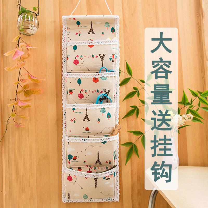 收纳袋挂袋墙挂式门后小布袋子可爱床头布艺墙上壁挂置物储物袋 Изображение 1