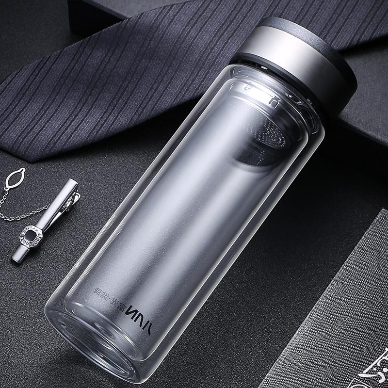 富光玻璃杯双层大容量男女士情侣杯子带盖泡茶杯过滤家用车载水杯