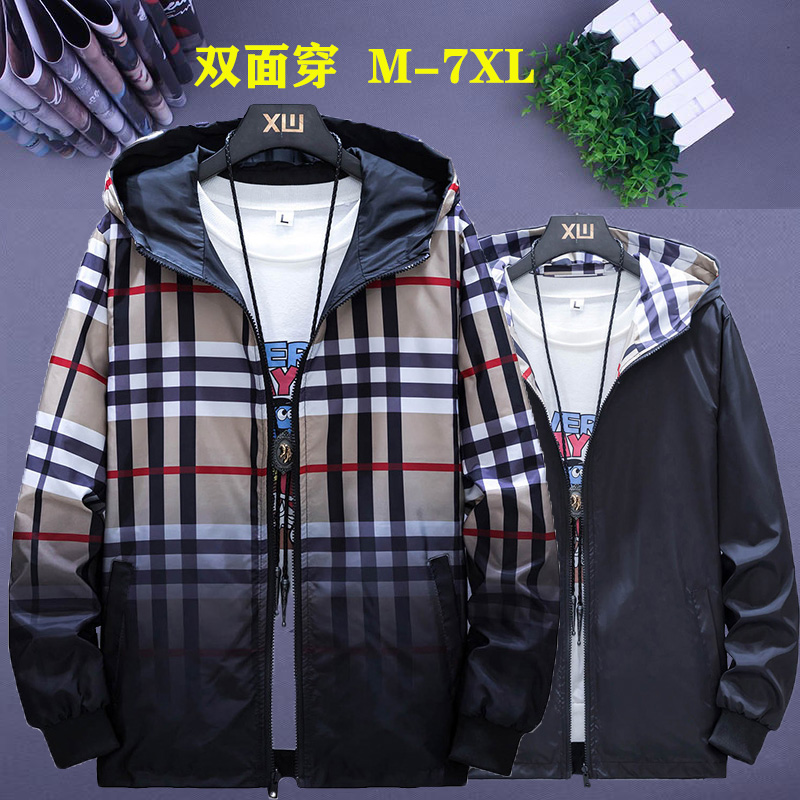 Mens coat spring and autumn trend double-sided jacket plus fat plus size student leisure Plaid sports color matching coat