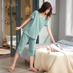 睡衣女夏季两件套纯棉短袖七分裤休闲两件套全棉家居服套装可出门