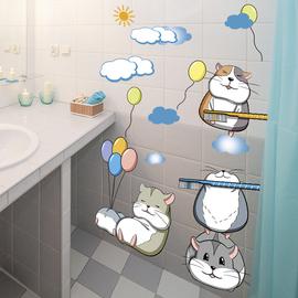 卫生间浴室瓷砖防水贴画墙贴玻璃门贴纸卡通小图案个性创意3D立体