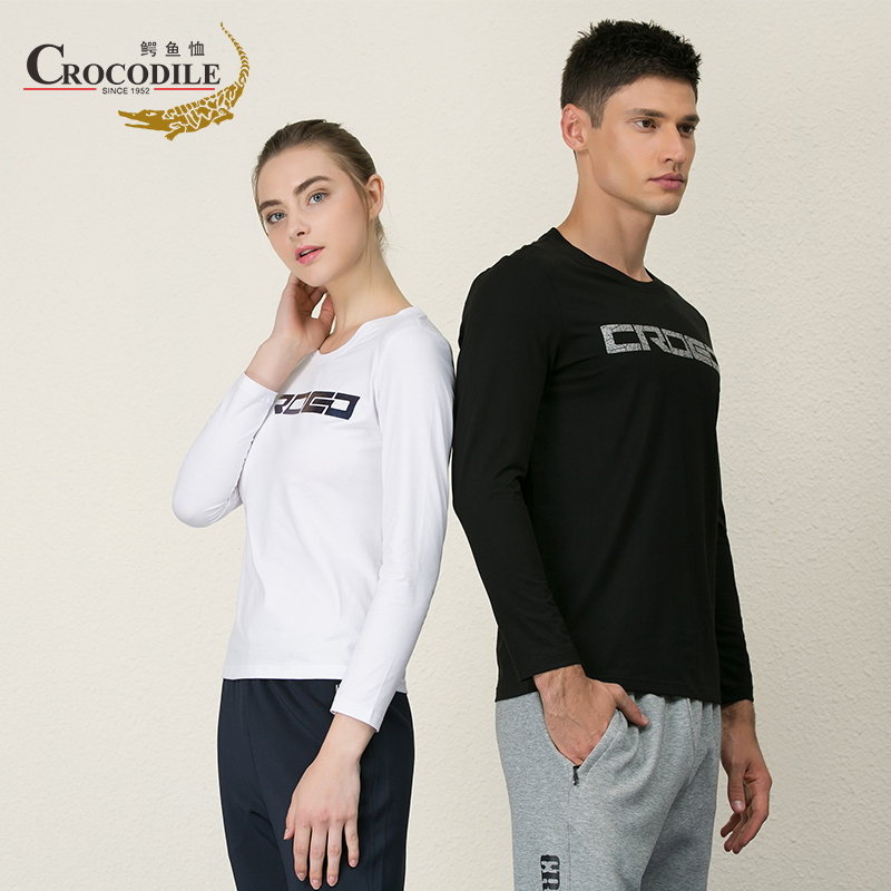 Crocodile T-shirt spring new mens and womens outdoor sports long sleeve T-shirt cotton casual top Stripe Polo Shirt Lapel circle