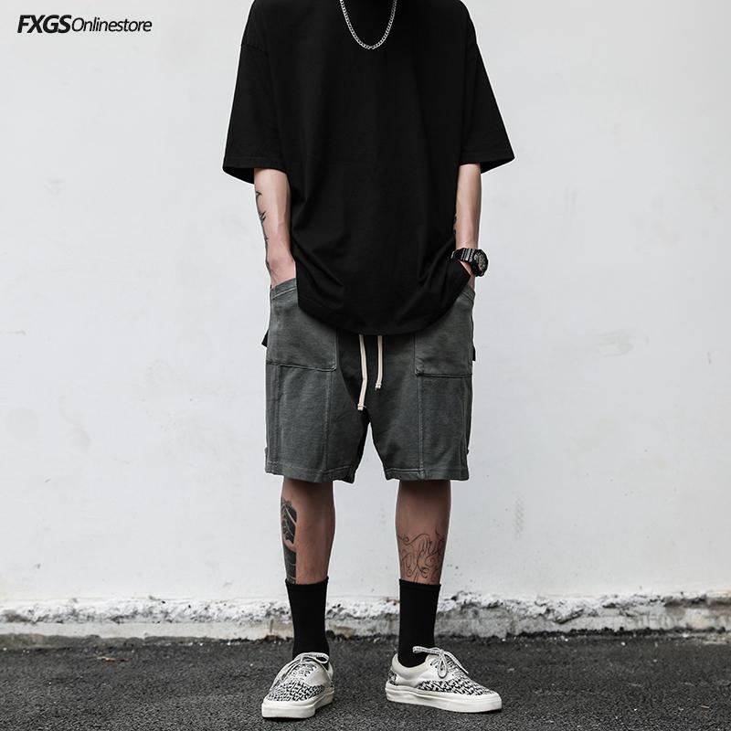 欧美高街风水洗做旧开叉拼接口袋休闲宽松短裤INS夏季潮男五分裤